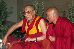 Dalai Lama. BARCELONA, SPAIN - SEPTEMBER 10: XIV Dalai Lama Tenzin Gyatso (L) speaks in a conference on September 10, 2007 in Barcelona, Catalonia, Spain Stock Photo