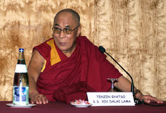 Dalai Lama in Barcelona. BARCELONA, SPAIN - SEPTEMBER 9: XIV Dalai Lama Tenzin Gyatso speaks in a conference on September 9, 2007 in Barcelona, Catalonia, Spain Stock Photography