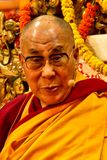 The Dalai Lama looks directly into the camera as he teaches in Dharamsala, India, Septemeber 2014 Julian_Bound d Stock Image