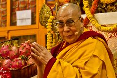 The Dalai Lama looks to the camera whilst in prayer Stock Photo