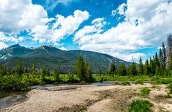 Dalar och floder i Rocky Mountains Stenig bergnationalpark royaltyfri bild