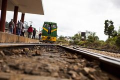DALAT, ΒΙΕΤΝΆΜ - 17 Φεβρουαρίου 2017 Ο αρχαίος σταθμός είναι διάσημη θέση, προορισμός ιστορίας για τον ταξιδιώτη, με το σιδηρόδρο στοκ εικόνες