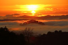 Gorgeous Orange Sunrise at Trai Mat, Dalat, Vietnam