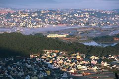 DaLat cityBeautiful houses with tile roofs in the Da Lat city royalty free stock photography