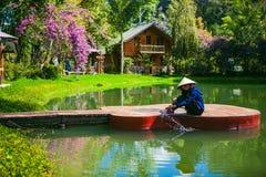 DALAT, VIETNAM - 17 febbraio 2017: Gradino LU Quan di mA di alloggio presso famiglie al Lat del Da, Lam Dong, Viet Nam Fotografie Stock
