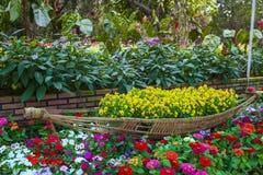 DALAT VIETNAM - Februari 17, 2017: Stadsblommaträdgården i Dalat, Vietnam Arkivbild