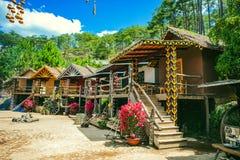 DALAT, VIETNAM - February 17, 2017: Cu Lan village at Dalat countryside, hotel and holiday resort among pine jungle, camp on grass. Field, an eco tourism in stock photo
