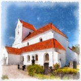 Dalby Kloster Digital Watercolor Painting Royalty Free Stock Images