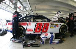 Dale Earnhardt Jr. in garage area Stock Image