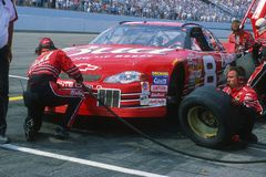 Dale Earnhardt Jr.NASCAR Driver. Dale Earnhardt Jr one of the all time great NASCAR driver sitting sitting in the car during a pit stop Stock Photo