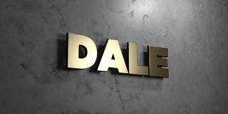 Dale - Gold sign mounted on glossy marble wall  - 3D rendered royalty free stock illustration Royalty Free Stock Photography