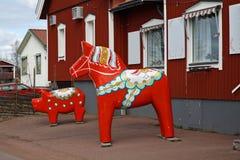 Dalecarlian (Dala) paard in Nusnas Dalarnaprovincie zweden royalty-vrije stock foto