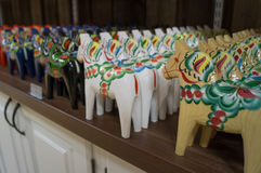 Dalecarlian horses in a store Royalty Free Stock Images