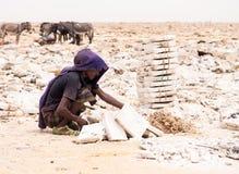 Daleko mężczyzna kopalnictwa sól od solankowych mieszkań w regionie Daleko, Danakil Dep zdjęcia stock