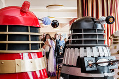 Daleks at a convention Royalty Free Stock Photo