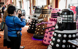 Daleks at a sci-fi convention Stock Photo