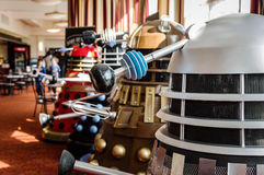 Daleks at a sci-fi convention Stock Images