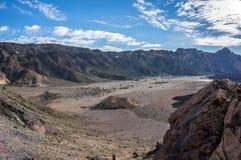 Dalen av den gamla krater av den LaCañadas calderaen arkivfoto