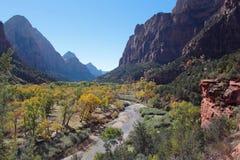 Dalen av den jungfruliga floden i Zion National Park på en härlig höstdag royaltyfri fotografi