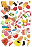 Dalend die Suikergoed op een Witte Achtergrond wordt geïsoleerd royalty-vrije stock foto's