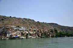 Dalend dorp ` Halfetti ` in de provincie van de stad van Gaziantep stock afbeelding