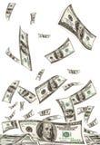 Dalend geld stock foto