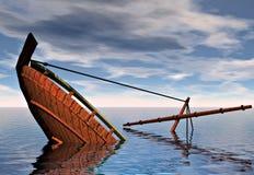 Dalend schip Stock Foto