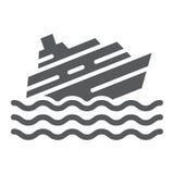 Dalend schip glyph pictogram, ramp en water, het teken van de bootcatastrofe, vectorafbeeldingen, een stevig patroon op een wit royalty-vrije illustratie