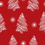 Dalend sneeuw naadloos patroon Witte sneeuwvlokken op rode achtergrond De textuur van de de wintersneeuwval Stock Foto