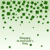 Dalende bladeren van klaver met inschrijvings Gelukkige St Patricks Dag Vector illustratie royalty-vrije illustratie