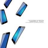 Dalende 3D Mobiele Telefoons Vectorachtergrond Royalty-vrije Stock Foto's