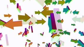 Dalende en roterende pijlen in diverse kleuren stock illustratie
