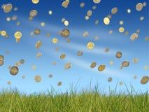 Dalende euro muntstukken Stock Foto's