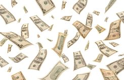 Dalende (geïsoleerdee) dollars Royalty-vrije Stock Afbeelding