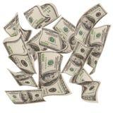 Dalende gelden $100 rekeningen Stock Afbeelding