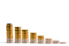 Dalende geldgrafiek Stock Foto