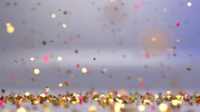 Dalende Glanzende Confettien feestelijke achtergrond stock footage