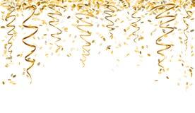 Dalende gouden confettien Stock Afbeeldingen