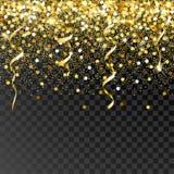 Dalende gouden deeltjes op een zwarte achtergrond Stock Fotografie