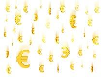 Dalende gouden euro symbolen Royalty-vrije Stock Afbeeldingen