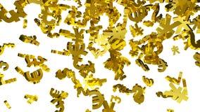 Dalende Gouden Muntsymbolen stock videobeelden