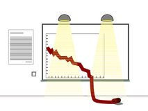 Dalende grafiek Royalty-vrije Stock Afbeeldingen
