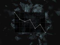 Dalende grafiek op de zwarte grafiek als achtergrond, onderaan bar Velen brengen op een zwarte achtergrond in kaart zaken, financ royalty-vrije illustratie