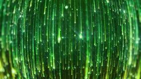 Dalende heldere deeltjes Starfall op een donkere achtergrond met glanzende en gloeiende asterisken looped vector illustratie