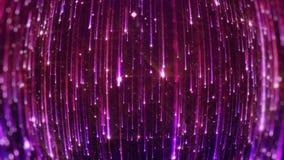 Dalende heldere deeltjes Starfall op een donkere achtergrond met glanzende en gloeiende asterisken looped stock illustratie