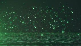 Dalende heldergroene deeltjessprong op donkere achtergrond stock illustratie