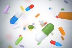 Dalende kleurrijke pillen Stock Foto