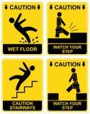 Dalende mens - voorzichtigheidsteken Stock Foto's