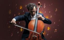 Dalende nota's met klassieke musicus royalty-vrije illustratie