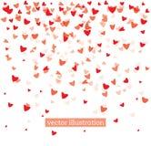 Dalende Rode Harten op Witte Achtergrond Stock Afbeelding